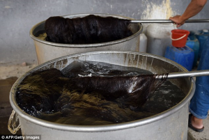 In the workplaces, the hair is disinfected in two huge barrels, before workers use paddles to stir clumps of strands in steaming water. It is dyed in colours and then dried in ovens and sewn into hair extensions