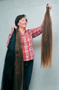 Michele Hansen shows custom horse hair tail extensions she produces from her home near Rockglen, Sask.   William DeKay photo