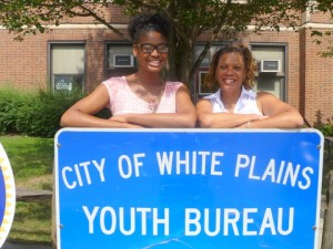 Asia Lyn-Cook (left) with White Plains Youth Bureau Staff Member Adrienne Rivers.  Photo Credit: Brian Donnelly